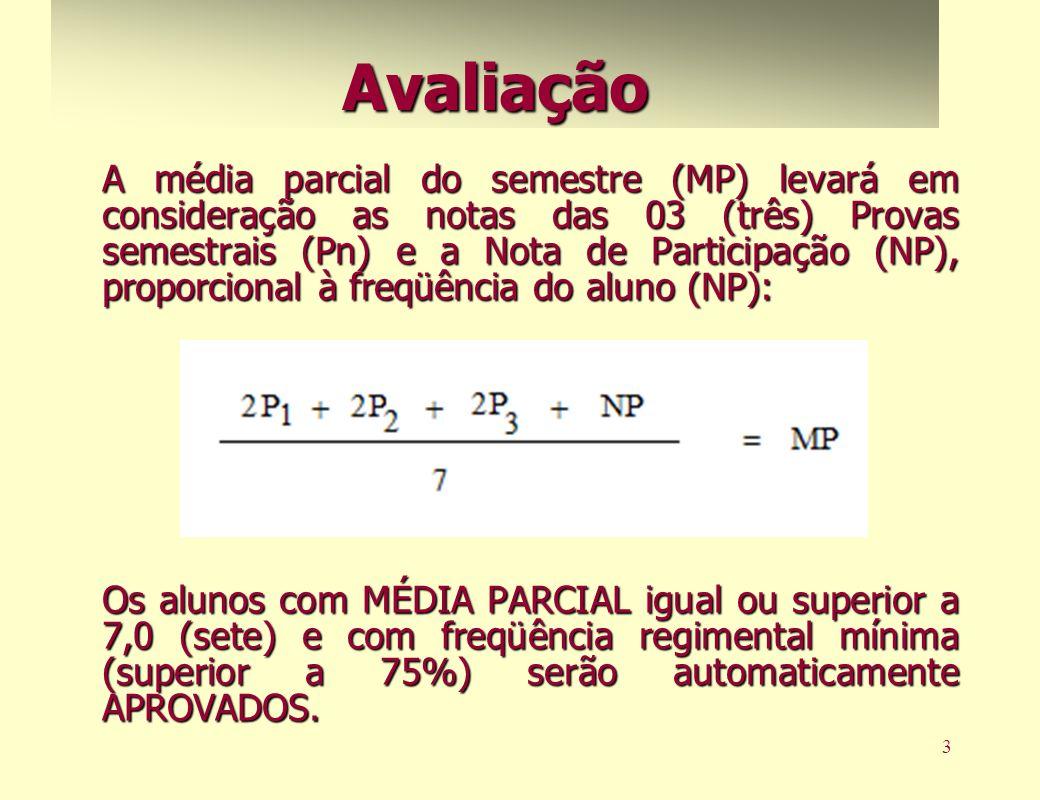 3 A média parcial do semestre (MP) levará em consideração as notas das 03 (três) Provas semestrais (Pn) e a Nota de Participação (NP), proporcional à