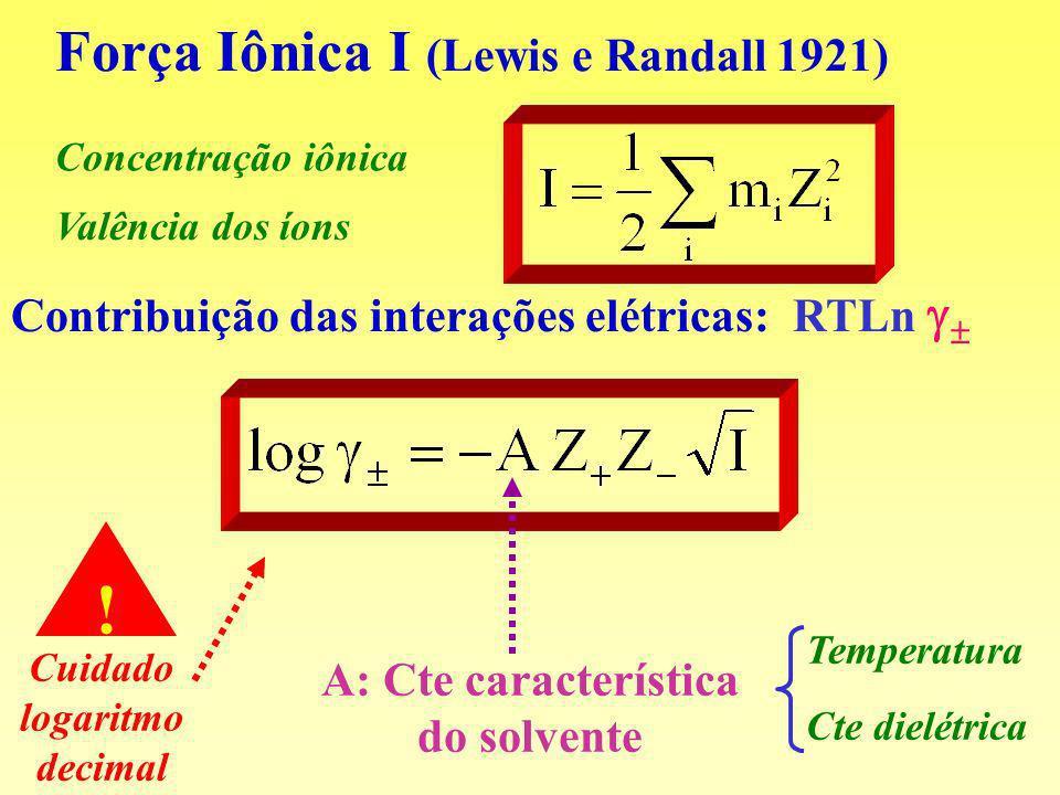 Força Iônica I (Lewis e Randall 1921) Valência dos íons Concentração iônica Contribuição das interações elétricas: RTLn Cuidado logaritmo decimal ! Te