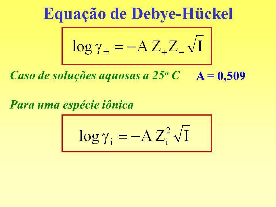 Equação de Debye-Hückel Caso de soluções aquosas a 25 o C A = 0,509 Para uma espécie iônica