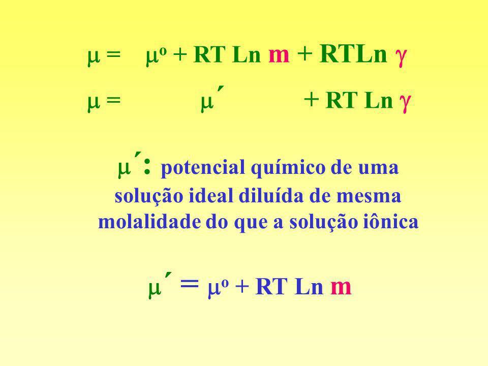 = ´ + RT Ln ´: potencial químico de uma solução ideal diluída de mesma molalidade do que a solução iônica ´ = o + RT Ln m = o + RT Ln m + RTLn