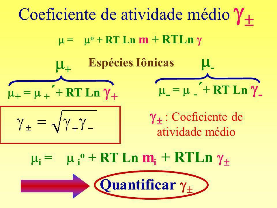 Coeficiente de atividade médio Espécies Iônicas + - i = i o + RT Ln m i + RTLn Quantificar = o + RT Ln m + RTLn + = + ´ + RT Ln + - = - ´ + RT Ln - :