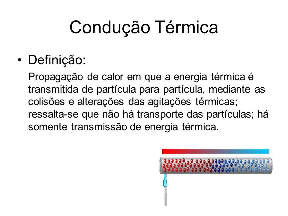 Condução Térmica Definição: Propagação de calor em que a energia térmica é transmitida de partícula para partícula, mediante as colisões e alterações