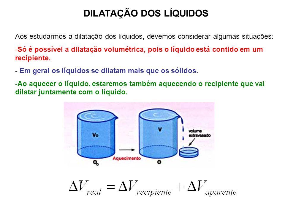DILATAÇÃO DOS LÍQUIDOS Aos estudarmos a dilatação dos líquidos, devemos considerar algumas situações: -Só é possível a dilatação volumétrica, pois o l