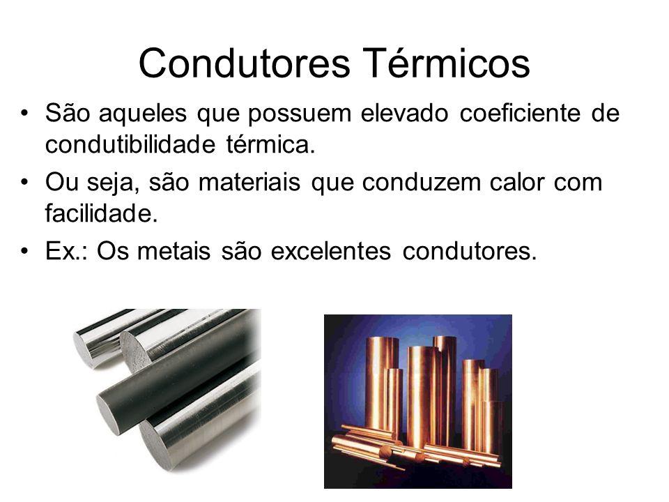 Condutores Térmicos São aqueles que possuem elevado coeficiente de condutibilidade térmica. Ou seja, são materiais que conduzem calor com facilidade.