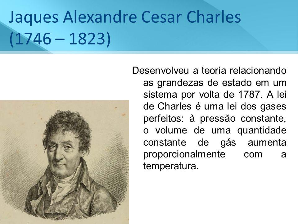 Jaques Alexandre Cesar Charles (1746 – 1823) Desenvolveu a teoria relacionando as grandezas de estado em um sistema por volta de 1787. A lei de Charle