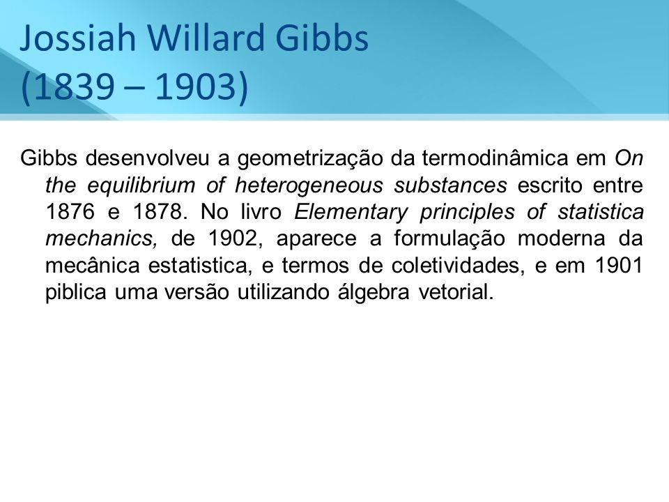 Jossiah Willard Gibbs (1839 – 1903) Gibbs desenvolveu a geometrização da termodinâmica em On the equilibrium of heterogeneous substances escrito entre