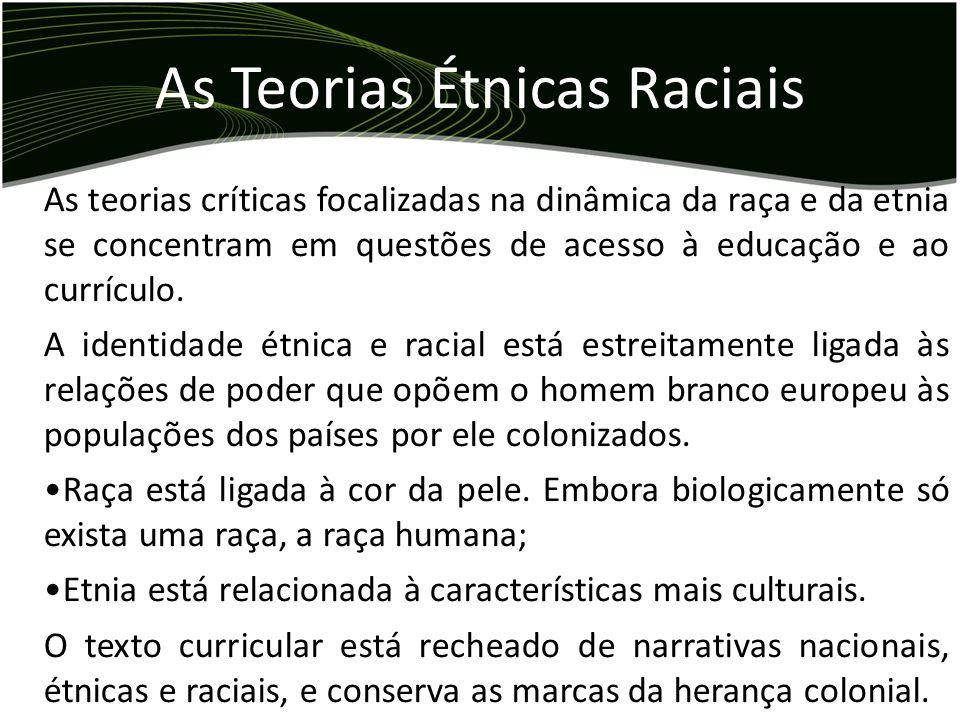 As teorias críticas focalizadas na dinâmica da raça e da etnia se concentram em questões de acesso à educação e ao currículo. A identidade étnica e ra