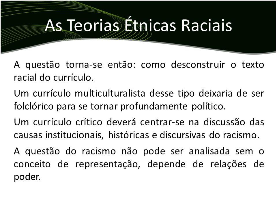 A questão torna-se então: como desconstruir o texto racial do currículo. Um currículo multiculturalista desse tipo deixaria de ser folclórico para se
