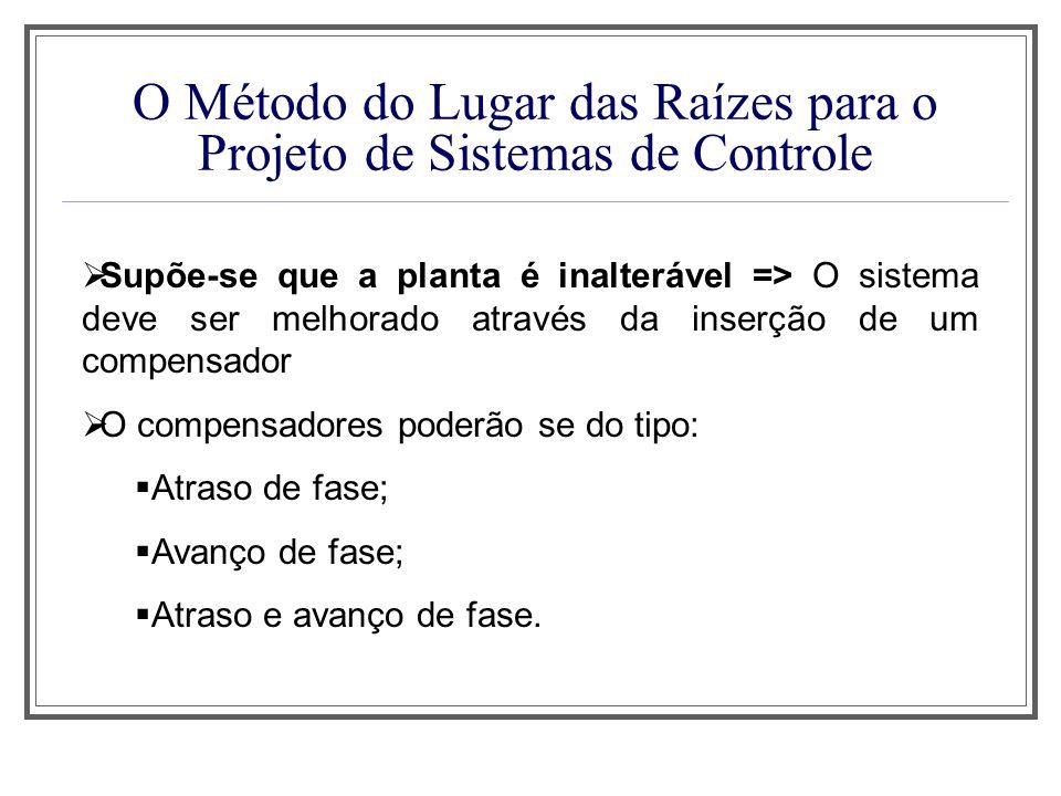 O Método do Lugar das Raízes para o Projeto de Sistemas de Controle Supõe-se que a planta é inalterável => O sistema deve ser melhorado através da ins