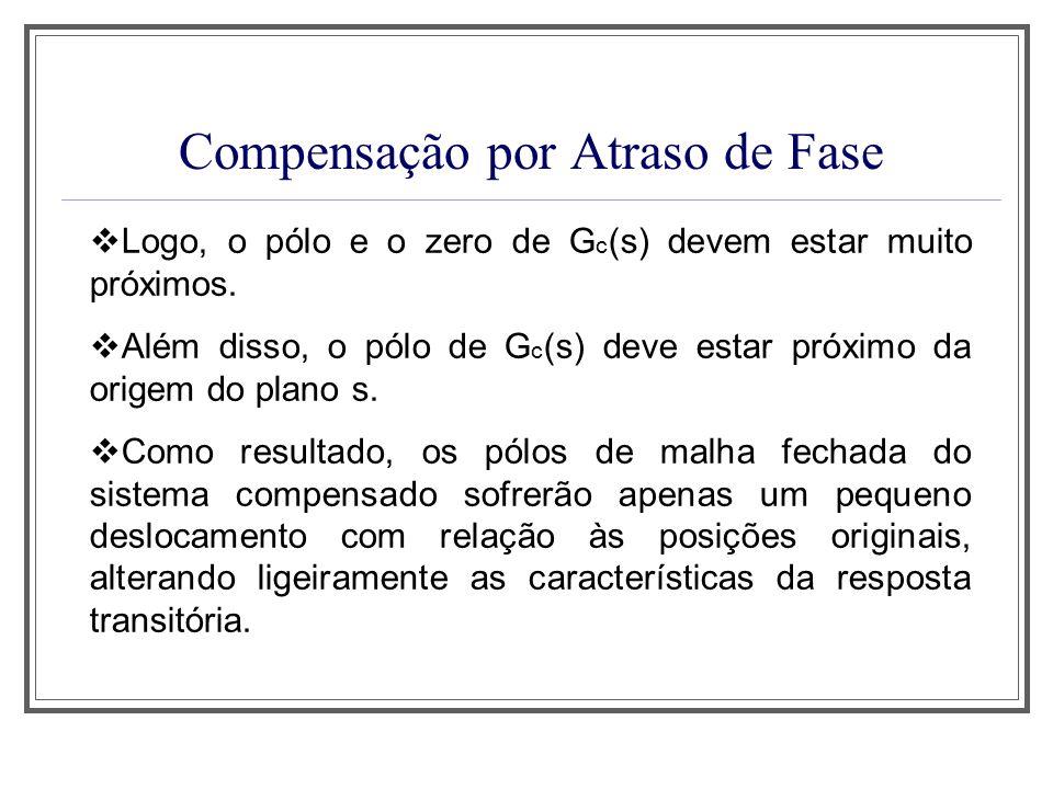 Compensação por Atraso de Fase Logo, o pólo e o zero de G c (s) devem estar muito próximos. Além disso, o pólo de G c (s) deve estar próximo da origem