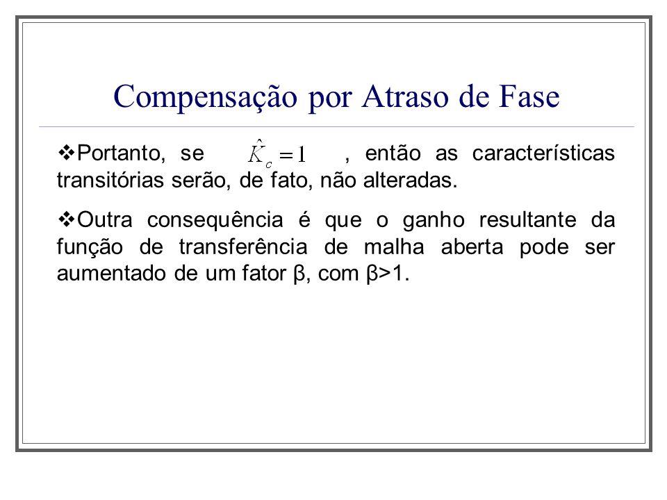 Compensação por Atraso de Fase O erro estático de velocidade do sistema não compensado é dado por O erro estático de velocidade do sistema compensado com o controlador por atraso de fase é dado por