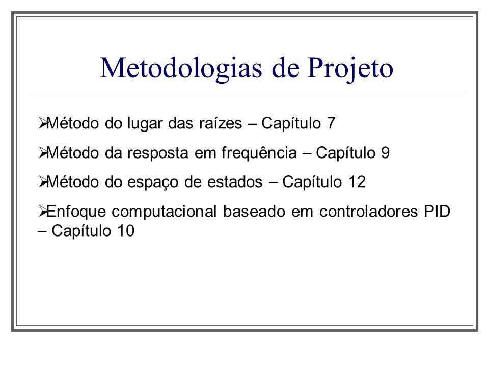 Metodologias de Projeto Método do lugar das raízes – Capítulo 7 Método da resposta em frequência – Capítulo 9 Método do espaço de estados – Capítulo 1