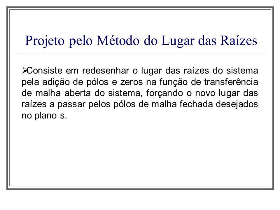 Projeto pelo Método do Lugar das Raízes Consiste em redesenhar o lugar das raízes do sistema pela adição de pólos e zeros na função de transferência d