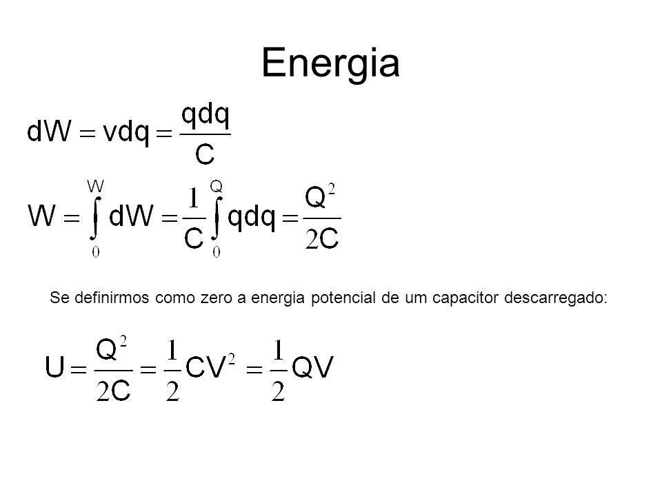 Energia Se definirmos como zero a energia potencial de um capacitor descarregado:
