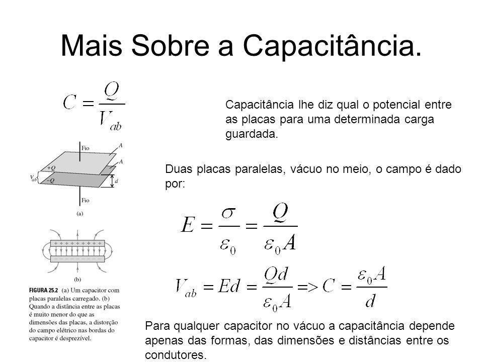 Mais Sobre a Capacitância. Capacitância lhe diz qual o potencial entre as placas para uma determinada carga guardada. Duas placas paralelas, vácuo no
