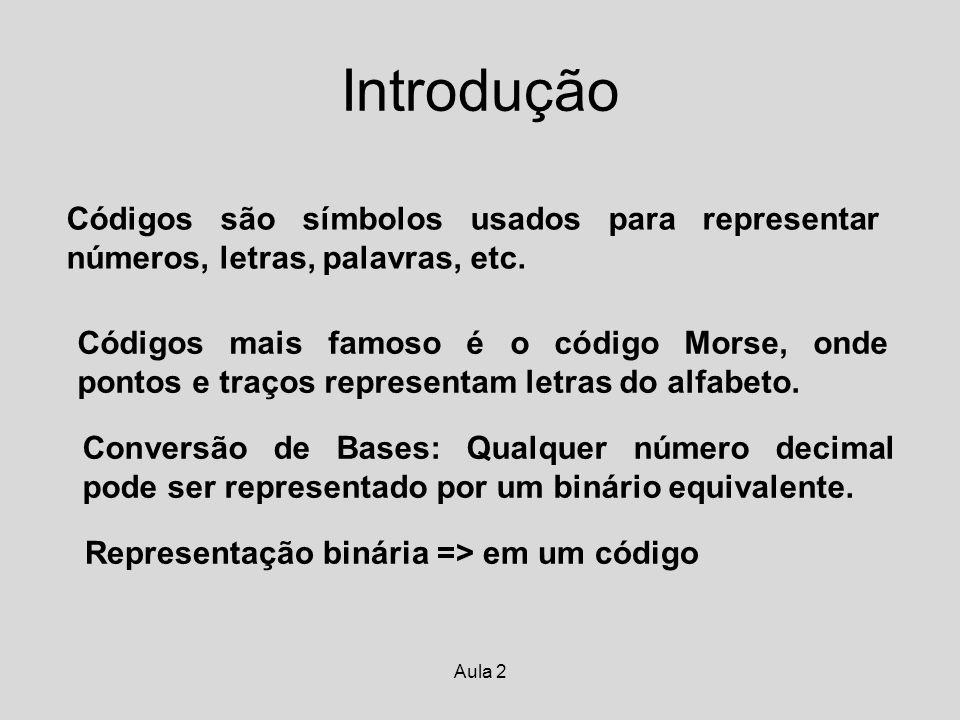 Aula 2 Introdução Códigos são símbolos usados para representar números, letras, palavras, etc. Códigos mais famoso é o código Morse, onde pontos e tra