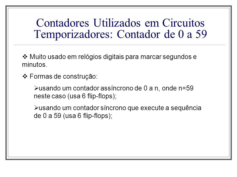 Contadores Utilizados em Circuitos Temporizadores: Contador de 0 a 59 Muito usado em relógios digitais para marcar segundos e minutos. Formas de const