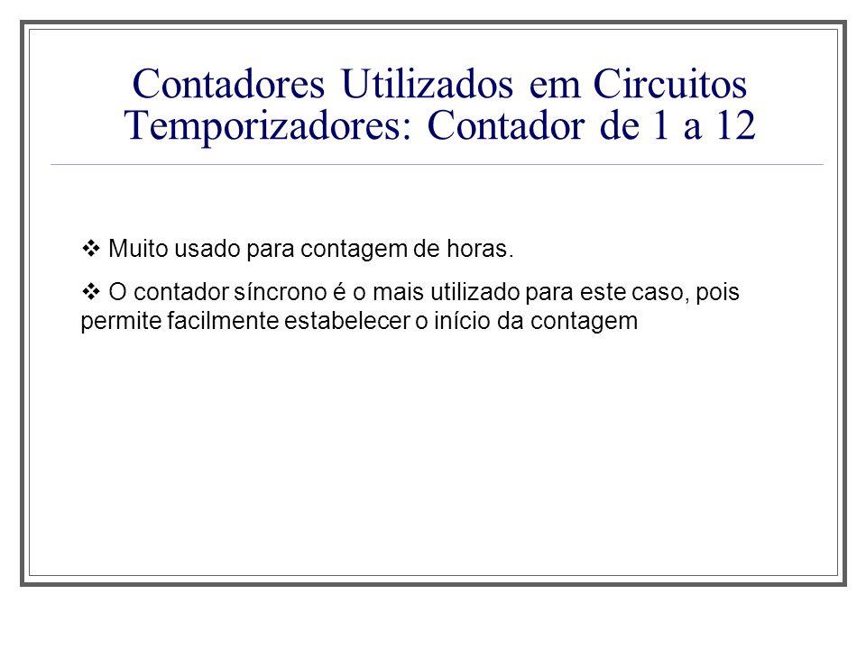 Contadores Utilizados em Circuitos Temporizadores: Contador de 1 a 12 Muito usado para contagem de horas. O contador síncrono é o mais utilizado para