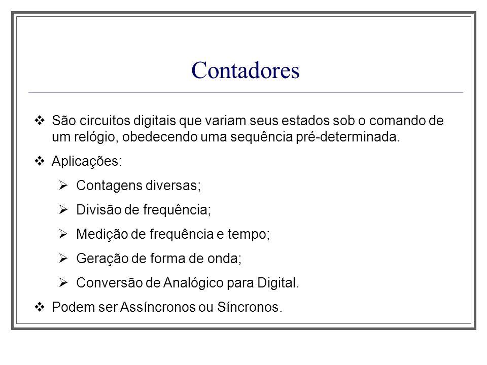 Contadores São circuitos digitais que variam seus estados sob o comando de um relógio, obedecendo uma sequência pré-determinada. Aplicações: Contagens