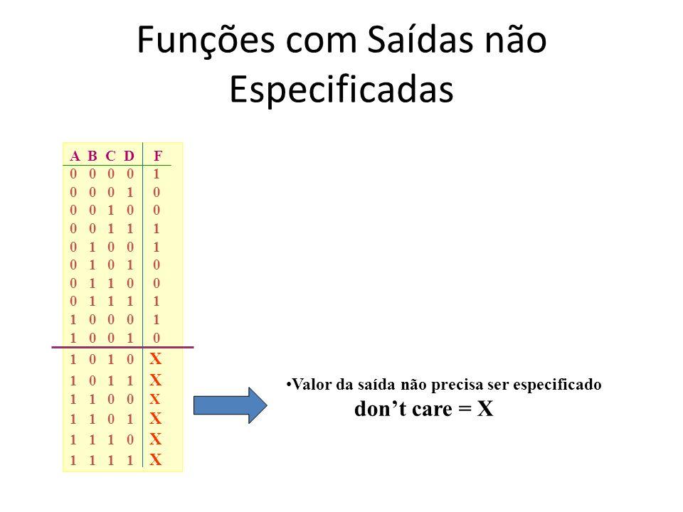 Funções com Saídas não Especificadas A B C D F 0 0 0 0 1 0 0 0 1 0 0 0 1 0 0 0 0 1 1 1 0 1 0 0 1 0 1 0 1 0 0 1 1 0 0 0 1 1 1 1 1 0 0 0 1 1 0 0 1 0 1 0