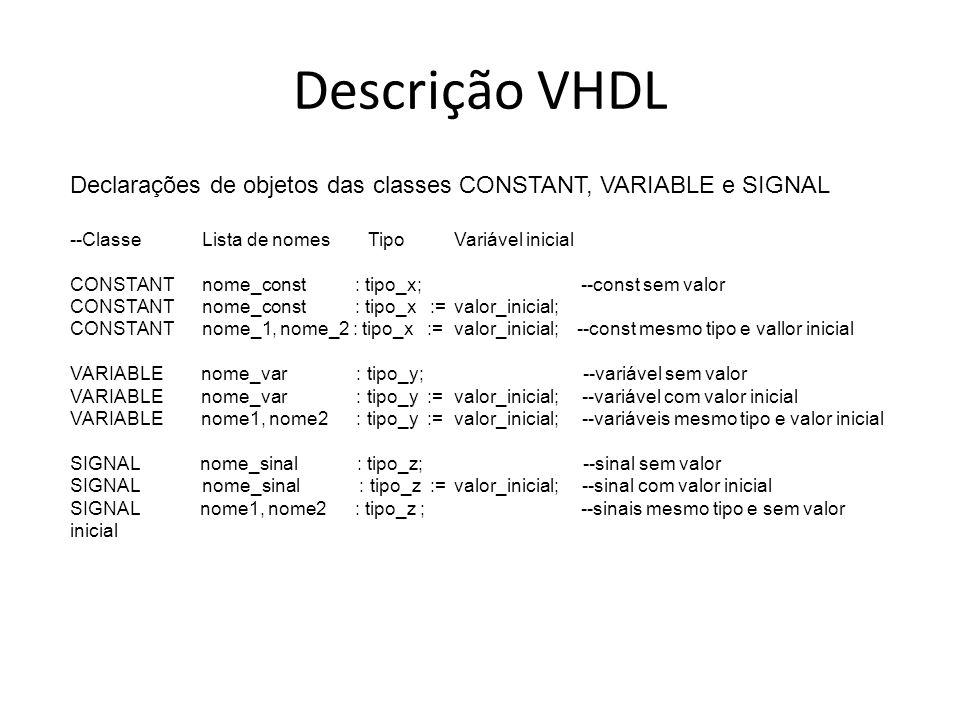 Descrição VHDL Declarações de objetos das classes CONSTANT, VARIABLE e SIGNAL --Classe Lista de nomes TipoVariável inicial CONSTANT nome_const : tipo_