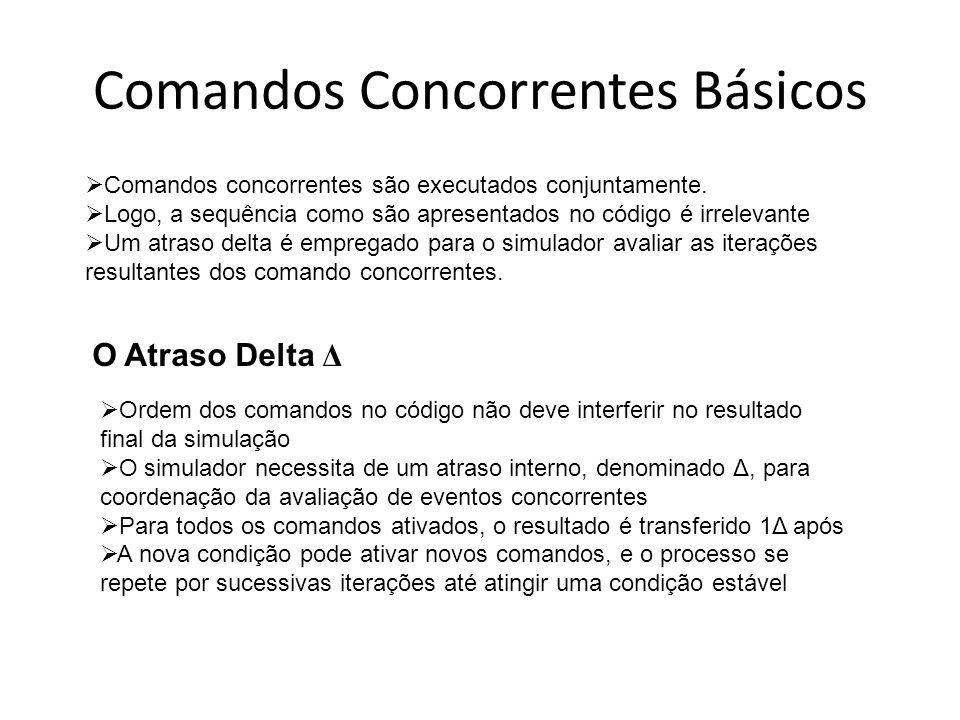 Comandos Concorrentes Básicos O Atraso Delta Δ Comandos concorrentes são executados conjuntamente. Logo, a sequência como são apresentados no código é