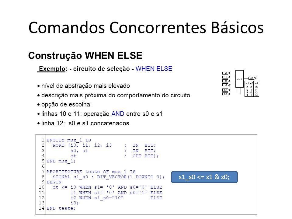 Comandos Concorrentes Básicos Construção WHEN ELSE s1_s0 <= s1 & s0;