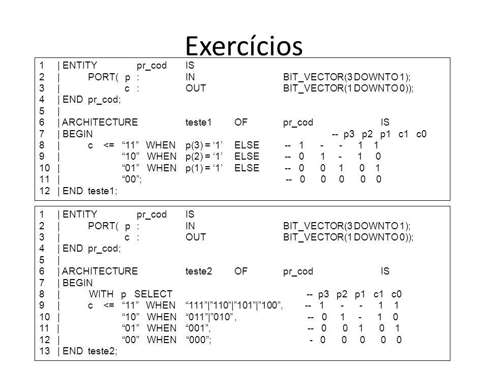 1   ENTITYpr_cod IS 2  PORT( p:INBIT_VECTOR(3 DOWNTO 1); 3   c:OUTBIT_VECTOR(1 DOWNTO 0)); 4   END pr_cod; 5   6   ARCHITECTURE teste1OFpr_codIS 7   B
