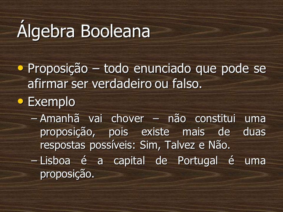 Álgebra Booleana Proposição – todo enunciado que pode se afirmar ser verdadeiro ou falso. Proposição – todo enunciado que pode se afirmar ser verdadei