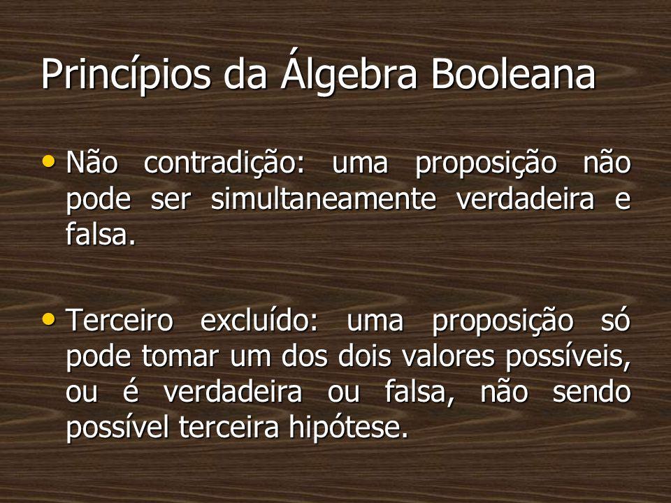 Princípios da Álgebra Booleana Não contradição: uma proposição não pode ser simultaneamente verdadeira e falsa. Não contradição: uma proposição não po