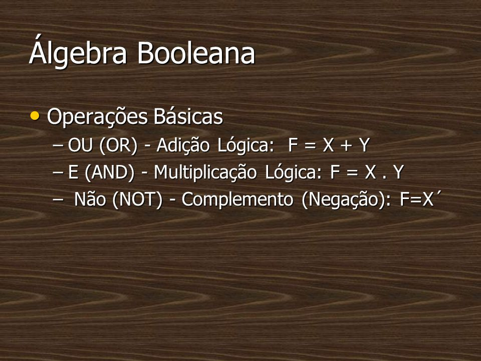 Álgebra Booleana Operações Básicas Operações Básicas –OU (OR) - Adição Lógica: F = X + Y –E (AND) - Multiplicação Lógica: F = X. Y – Não (NOT) - Compl