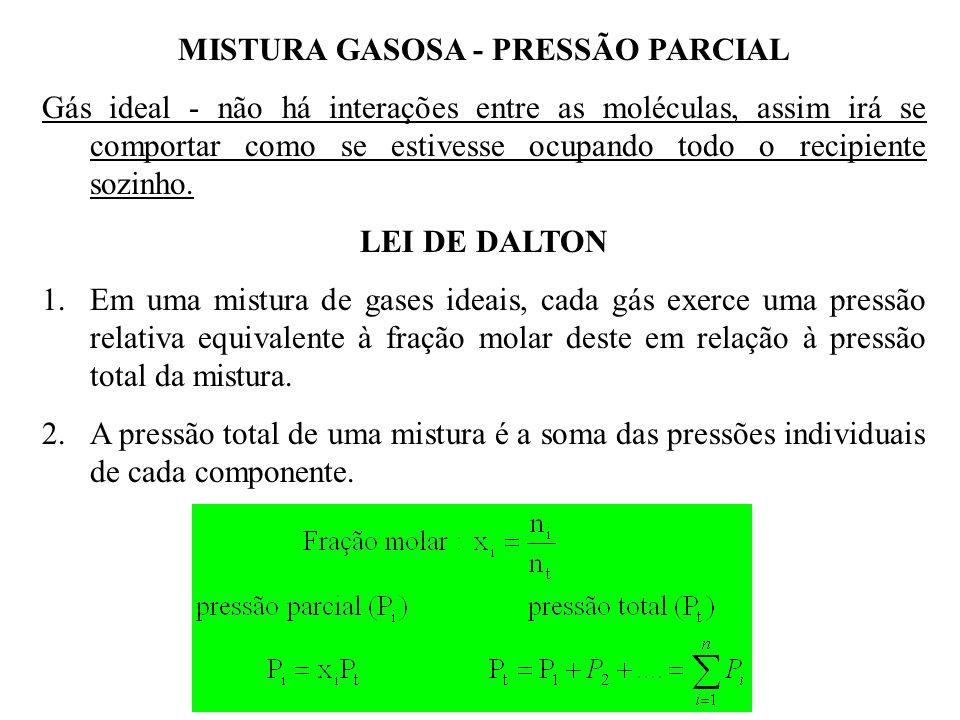 MISTURA GASOSA - PRESSÃO PARCIAL Gás ideal - não há interações entre as moléculas, assim irá se comportar como se estivesse ocupando todo o recipiente sozinho.