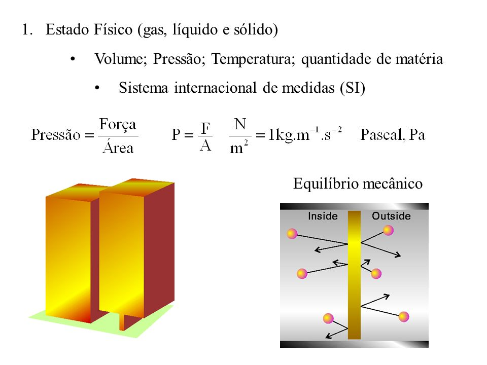 1.Estado Físico (gas, líquido e sólido) Volume; Pressão; Temperatura; quantidade de matéria Sistema internacional de medidas (SI) Equilíbrio mecânico
