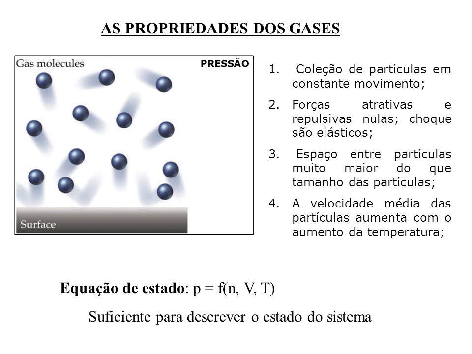 AS PROPRIEDADES DOS GASES Equação de estado: p = f(n, V, T) Suficiente para descrever o estado do sistema 1. Coleção de partículas em constante movime