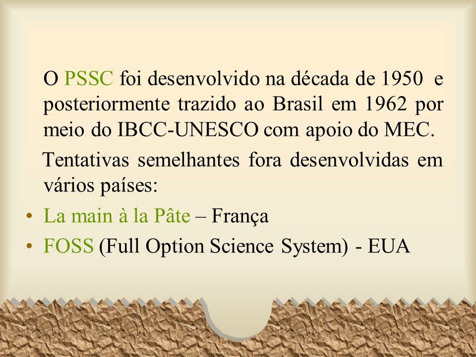 O PSSC foi desenvolvido na década de 1950 e posteriormente trazido ao Brasil em 1962 por meio do IBCC-UNESCO com apoio do MEC. Tentativas semelhantes