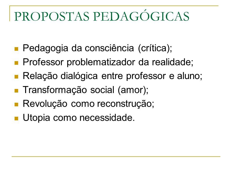 Pedagogia da consciência (crítica); Professor problematizador da realidade; Relação dialógica entre professor e aluno; Transformação social (amor); Re