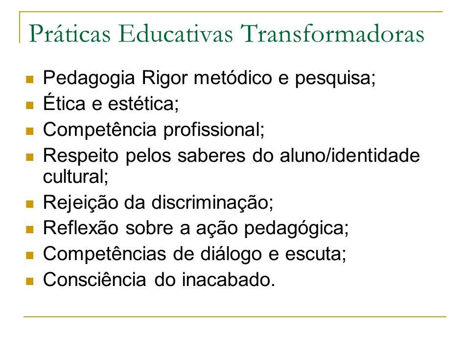 Pedagogia Rigor metódico e pesquisa; Ética e estética; Competência profissional; Respeito pelos saberes do aluno/identidade cultural; Rejeição da disc