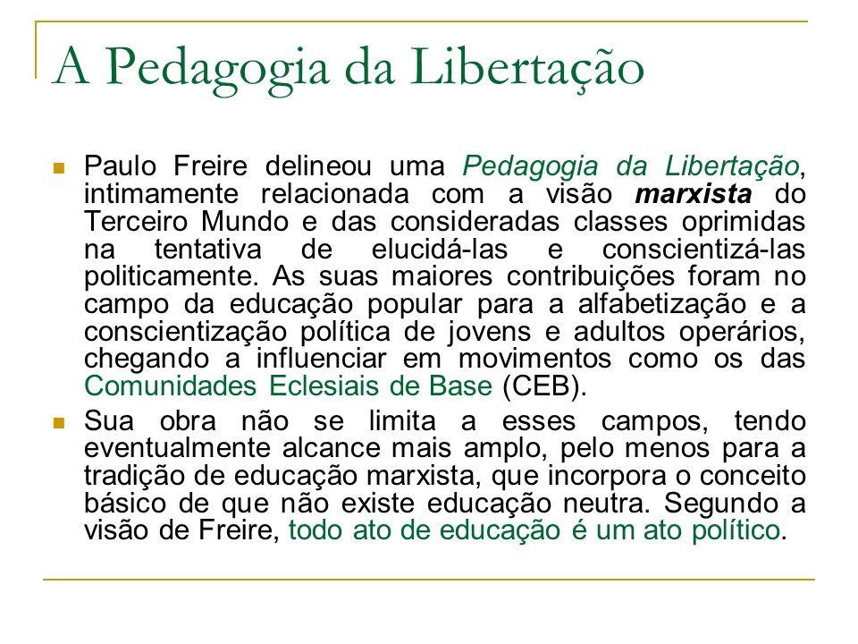A Pedagogia da Libertação Paulo Freire delineou uma Pedagogia da Libertação, intimamente relacionada com a visão marxista do Terceiro Mundo e das cons