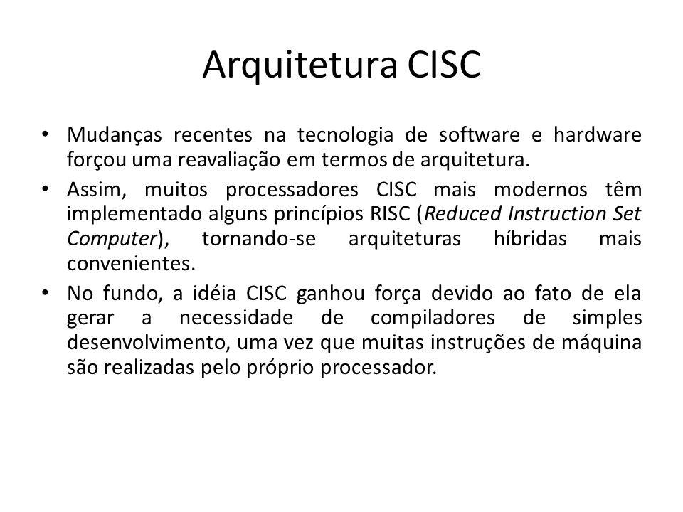 Arquitetura CISC Mudanças recentes na tecnologia de software e hardware forçou uma reavaliação em termos de arquitetura.
