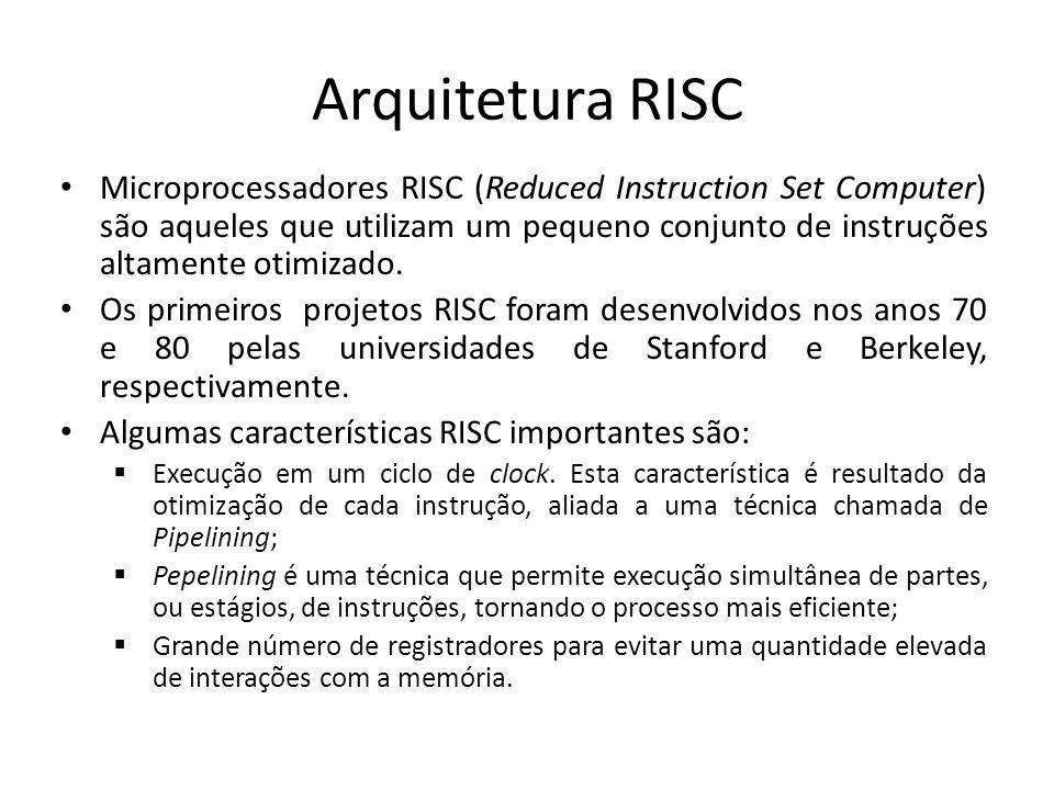 Arquitetura RISC Microprocessadores RISC (Reduced Instruction Set Computer) são aqueles que utilizam um pequeno conjunto de instruções altamente otimizado.