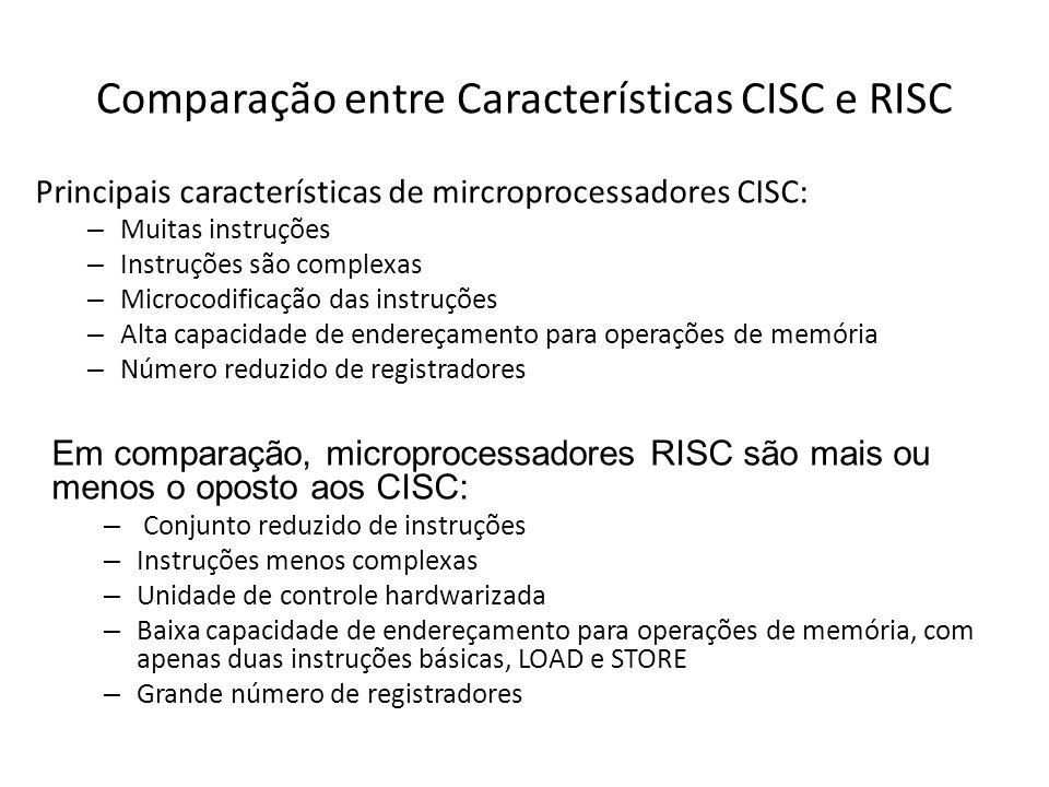 Comparação entre Características CISC e RISC Principais características de mircroprocessadores CISC: – Muitas instruções – Instruções são complexas – Microcodificação das instruções – Alta capacidade de endereçamento para operações de memória – Número reduzido de registradores Em comparação, microprocessadores RISC são mais ou menos o oposto aos CISC: – Conjunto reduzido de instruções – Instruções menos complexas – Unidade de controle hardwarizada – Baixa capacidade de endereçamento para operações de memória, com apenas duas instruções básicas, LOAD e STORE – Grande número de registradores
