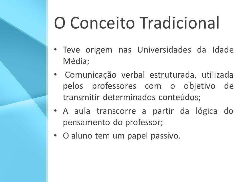 O Conceito Tradicional Teve origem nas Universidades da Idade Média; Comunicação verbal estruturada, utilizada pelos professores com o objetivo de tra
