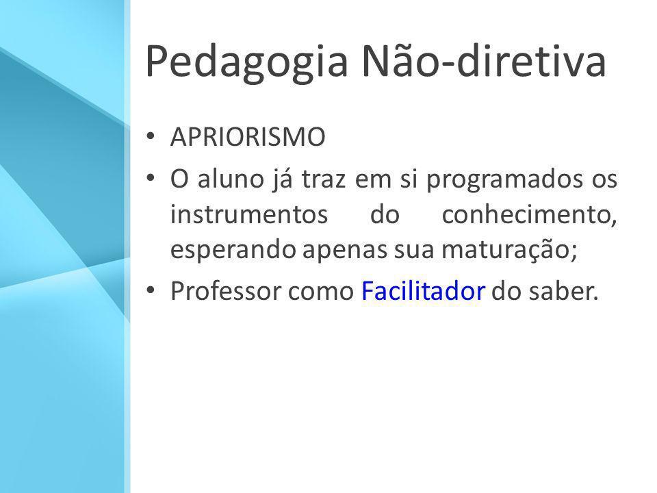 Pedagogia Não-diretiva APRIORISMO O aluno já traz em si programados os instrumentos do conhecimento, esperando apenas sua maturação; Professor como Fa
