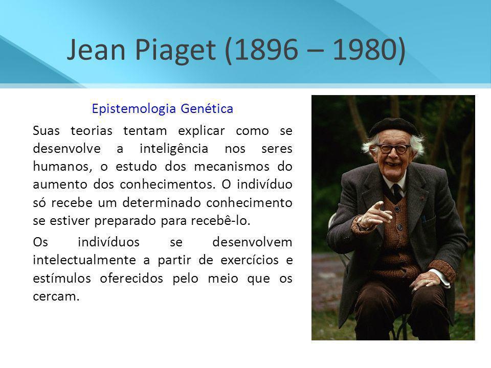 Jean Piaget (1896 – 1980) Epistemologia Genética Suas teorias tentam explicar como se desenvolve a inteligência nos seres humanos, o estudo dos mecani