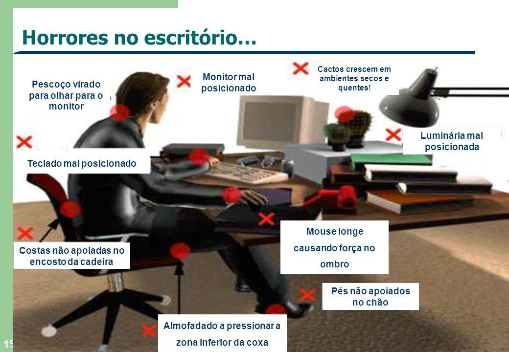 TEGAEL, SA - 2004 15 Horrores no escritório… Costas não apoiadas no encosto da cadeira Pés não apoiados no chão Mouse longe causando força no ombro Te