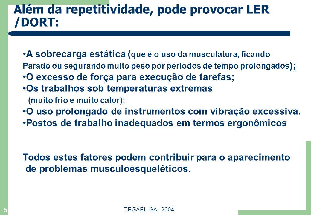 TEGAEL, SA - 2004 5 Além da repetitividade, pode provocar LER /DORT: A sobrecarga estática ( que é o uso da musculatura, ficando Parado ou segurando m