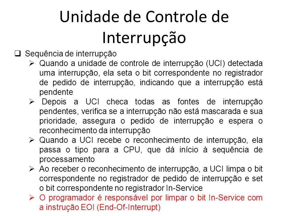 Unidade de Controle de Interrupção Sequência de interrupção Quando a unidade de controle de interrupção (UCI) detectada uma interrupção, ela seta o bi