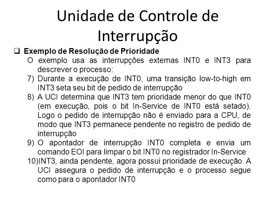 Unidade de Controle de Interrupção Exemplo de Resolução de Prioridade O exemplo usa as interrupções externas INT0 e INT3 para descrever o processo: 7)