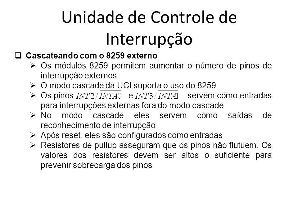 Unidade de Controle de Interrupção Cascateando com o 8259 externo Os módulos 8259 permitem aumentar o número de pinos de interrupção externos O modo c