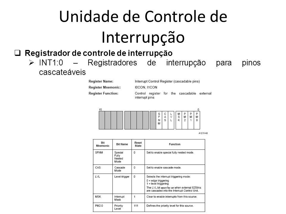 Unidade de Controle de Interrupção Registrador de controle de interrupção INT1:0 – Registradores de interrupção para pinos cascateáveis